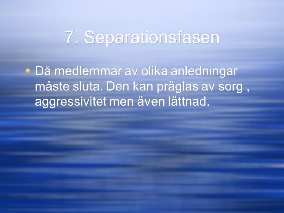 7. Separationsfasen Då medlemmar av olika anledningar måste sluta.