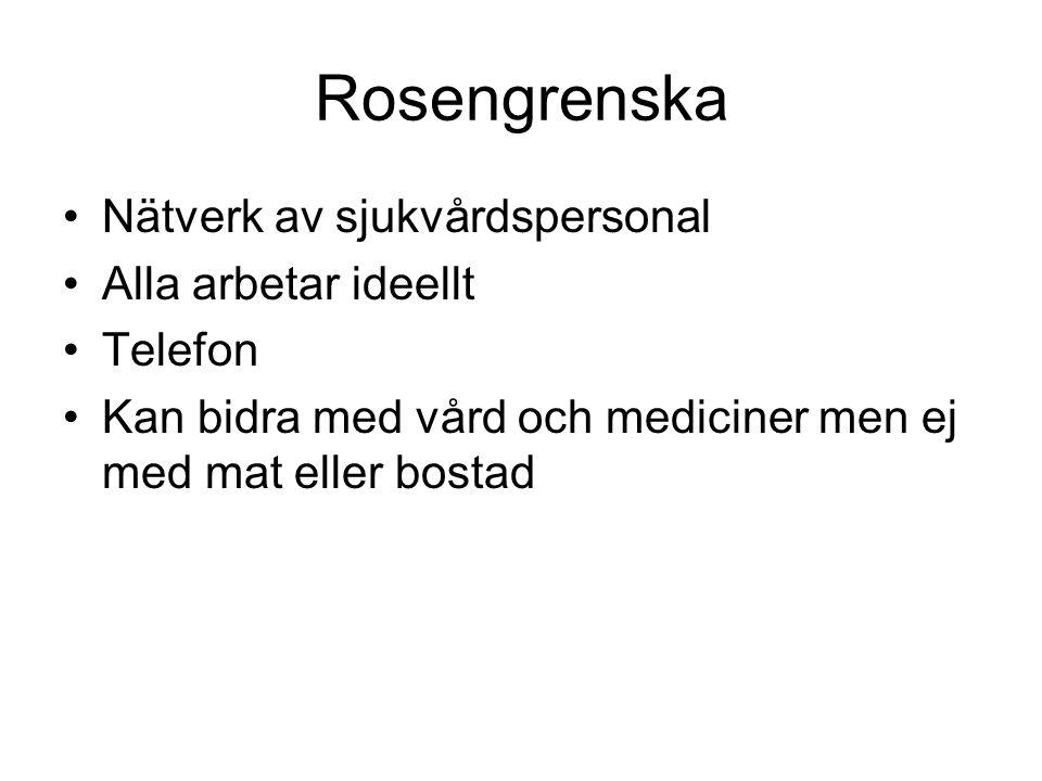 Rosengrenska Nätverk av sjukvårdspersonal Alla arbetar ideellt Telefon