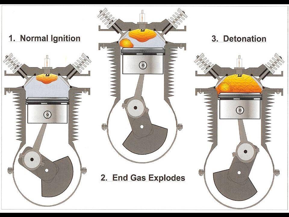 Även förbränningshastigheten påverkas av blandningsförhållandet så att magring från fet blandning ökar till en början förbränningshastigheten så att knackning kan uppstå eftersom tändtidpunkten är konstant. Kolven hinner då inte undan utan man får en onormal tryckökning som gör att återstående gasmassan spontantänder med hög flamfrontshastighet. 300 m/s jämfört med normal förbränning 30 m/s. En explosion!