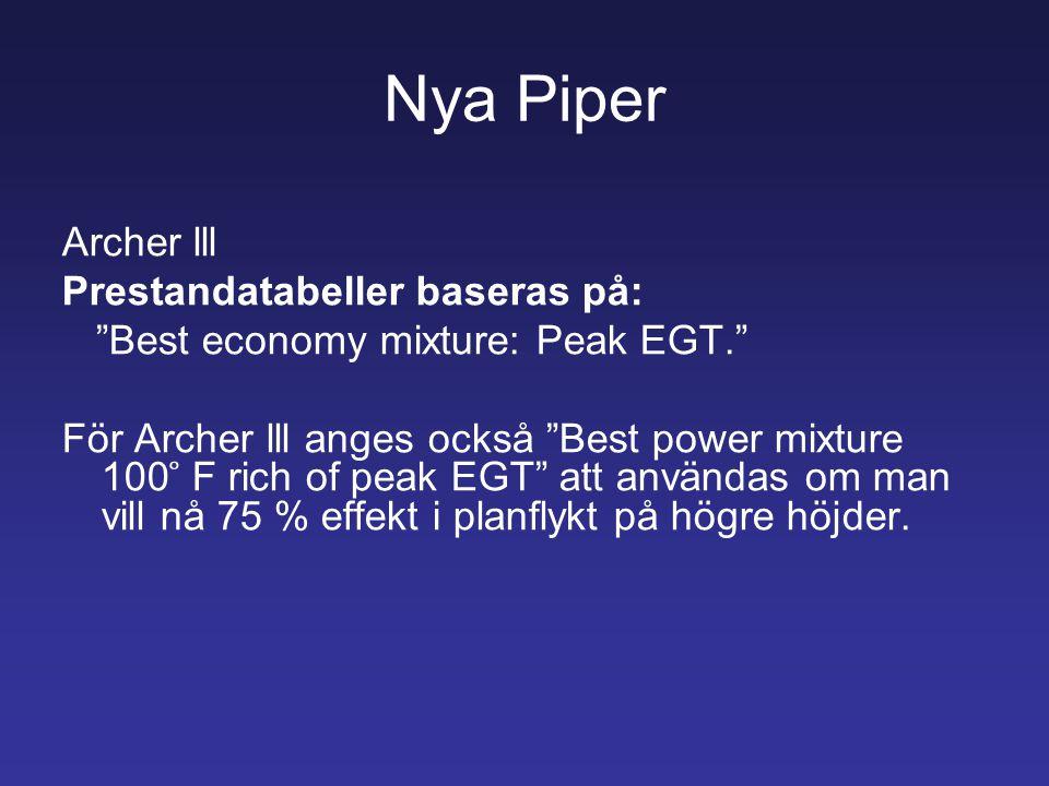 Nya Piper Archer lll Prestandatabeller baseras på: