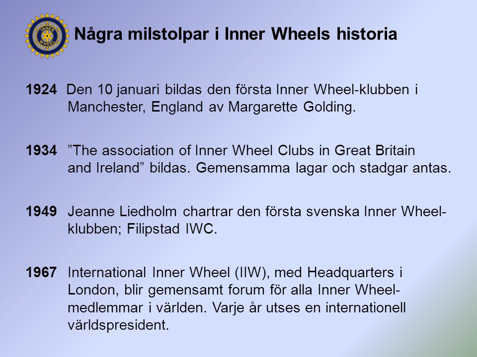 Några milstolpar i Inner Wheels historia