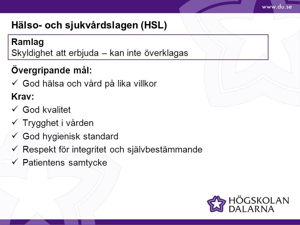 Hälso- och sjukvårdslagen (HSL)