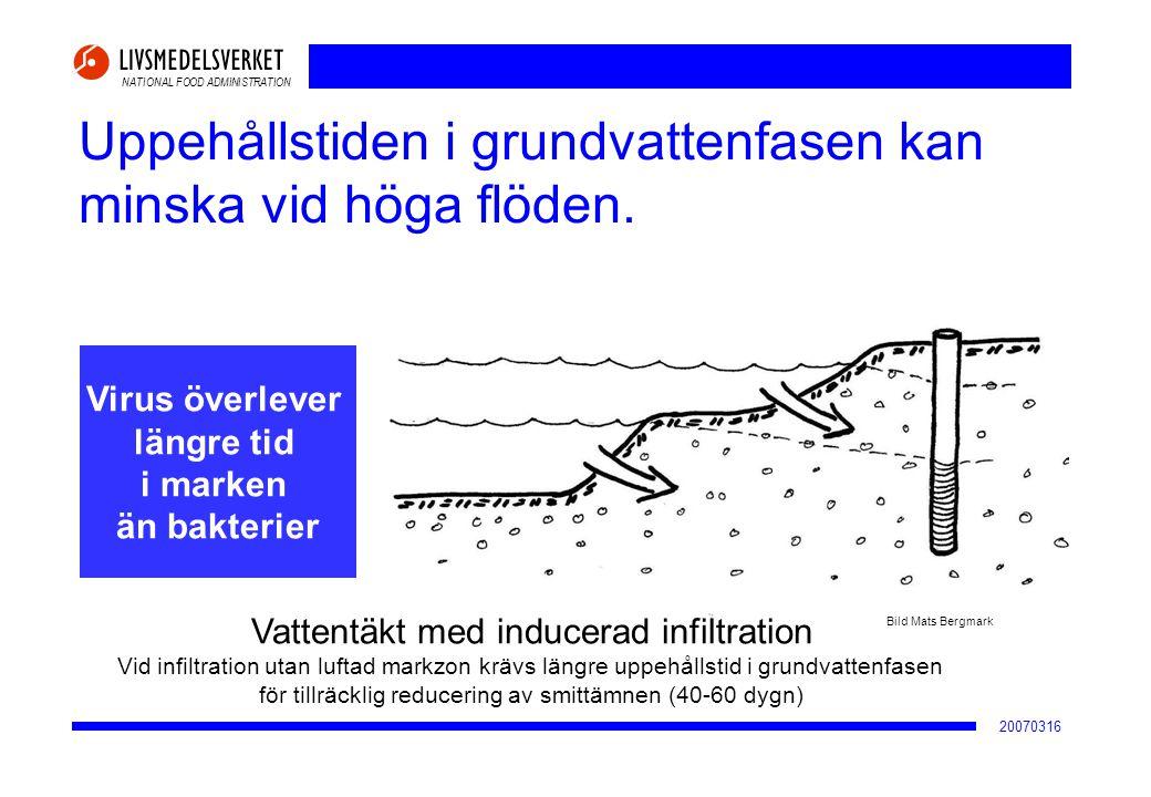 Uppehållstiden i grundvattenfasen kan minska vid höga flöden.