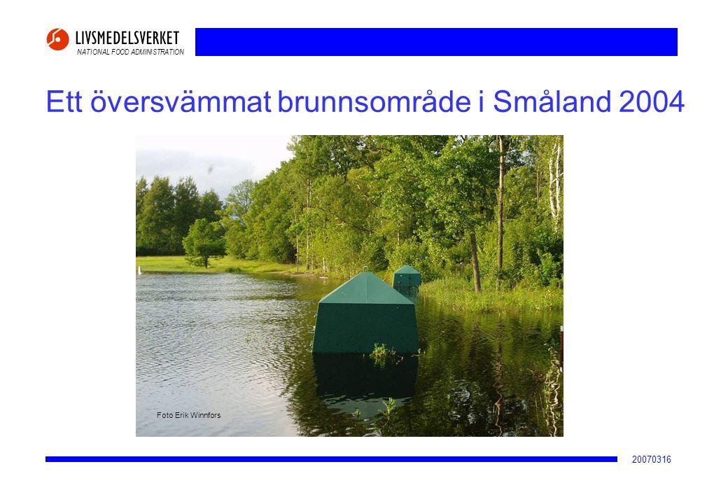 Ett översvämmat brunnsområde i Småland 2004