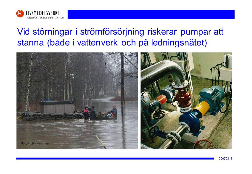 2017-04-02 Vid störningar i strömförsörjning riskerar pumpar att stanna (både i vattenverk och på ledningsnätet)