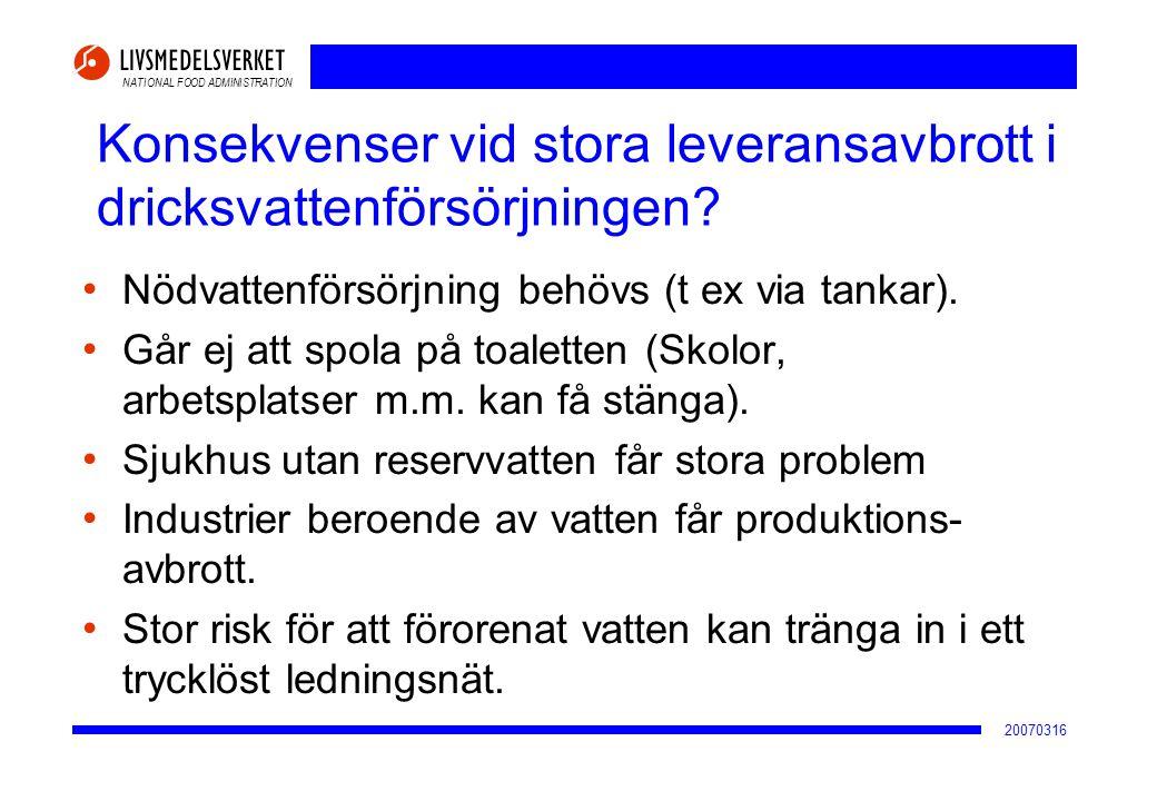 Konsekvenser vid stora leveransavbrott i dricksvattenförsörjningen