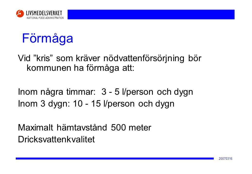 2017-04-02 Förmåga. Vid kris som kräver nödvattenförsörjning bör kommunen ha förmåga att: Inom några timmar: 3 - 5 l/person och dygn.