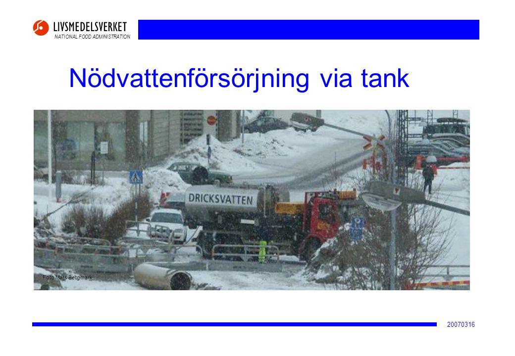 Nödvattenförsörjning via tank