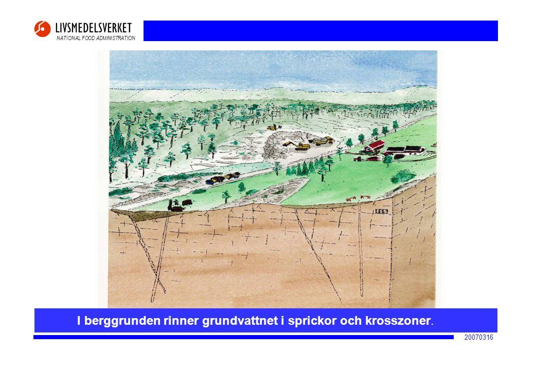 I berggrunden rinner grundvattnet i sprickor och krosszoner.