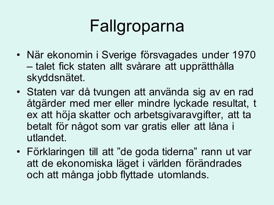 Fallgroparna När ekonomin i Sverige försvagades under 1970 – talet fick staten allt svårare att upprätthålla skyddsnätet.
