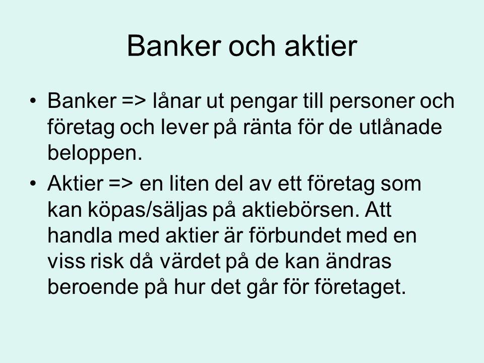 Banker och aktier Banker => lånar ut pengar till personer och företag och lever på ränta för de utlånade beloppen.