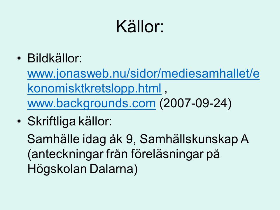 Källor: Bildkällor: www.jonasweb.nu/sidor/mediesamhallet/ekonomisktkretslopp.html , www.backgrounds.com (2007-09-24)