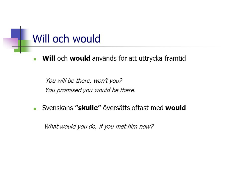 Will och would You will be there, won't you