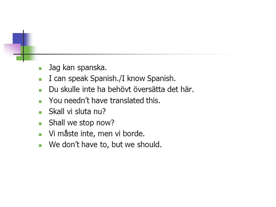 Jag kan spanska. I can speak Spanish./I know Spanish. Du skulle inte ha behövt översätta det här. You needn't have translated this.