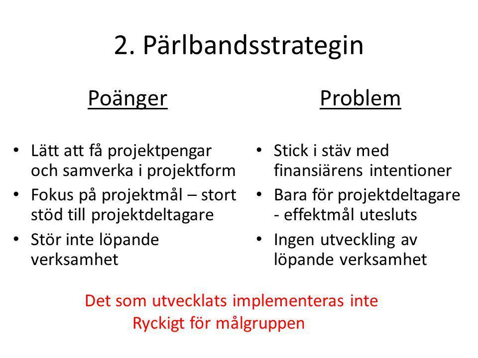 2. Pärlbandsstrategin Poänger Problem