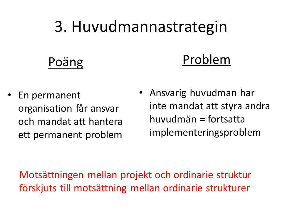 3. Huvudmannastrategin Problem Poäng