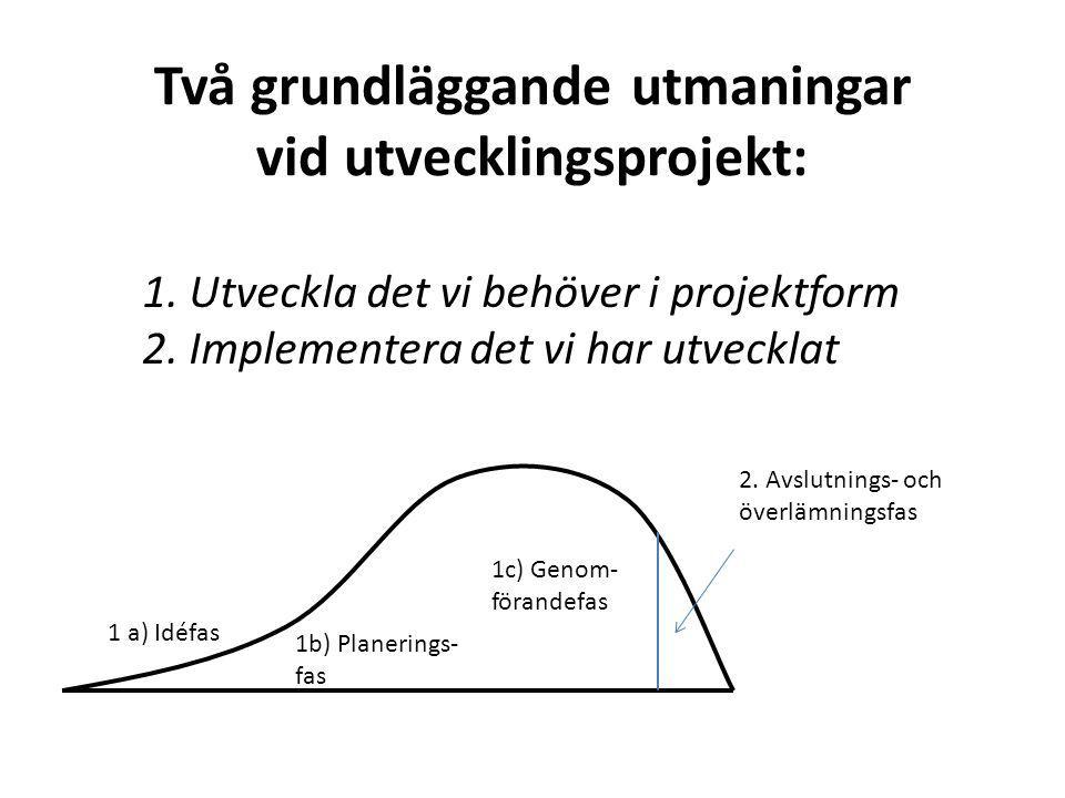 Två grundläggande utmaningar vid utvecklingsprojekt: