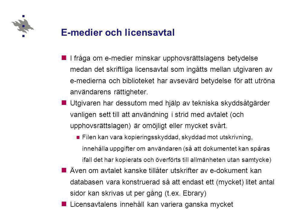 E-medier och licensavtal