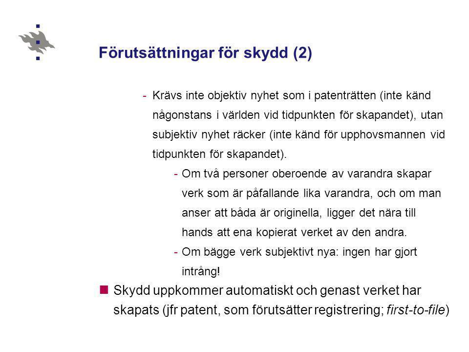 Förutsättningar för skydd (2)