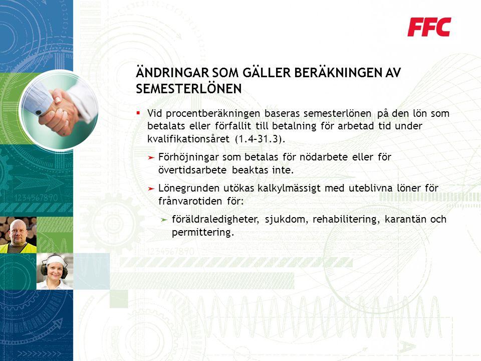 ÄNDRINGAR SOM GÄLLER BERÄKNINGEN AV SEMESTERLÖNEN