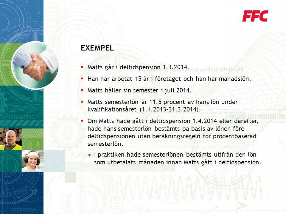 EXEMPEL Matts går i deltidspension 1.3.2014.