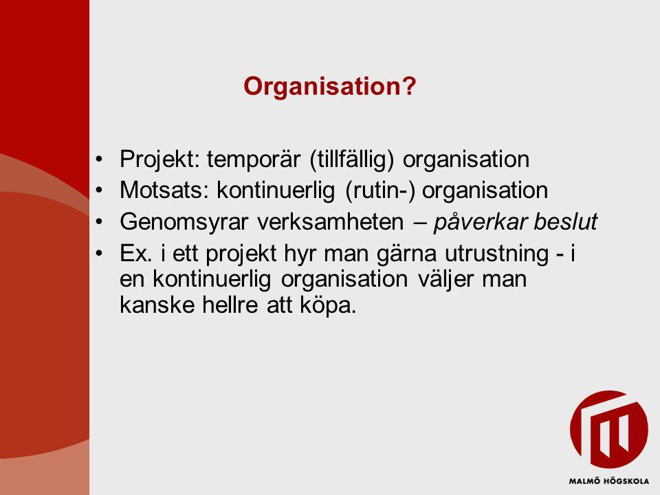 Organisation Projekt: temporär (tillfällig) organisation