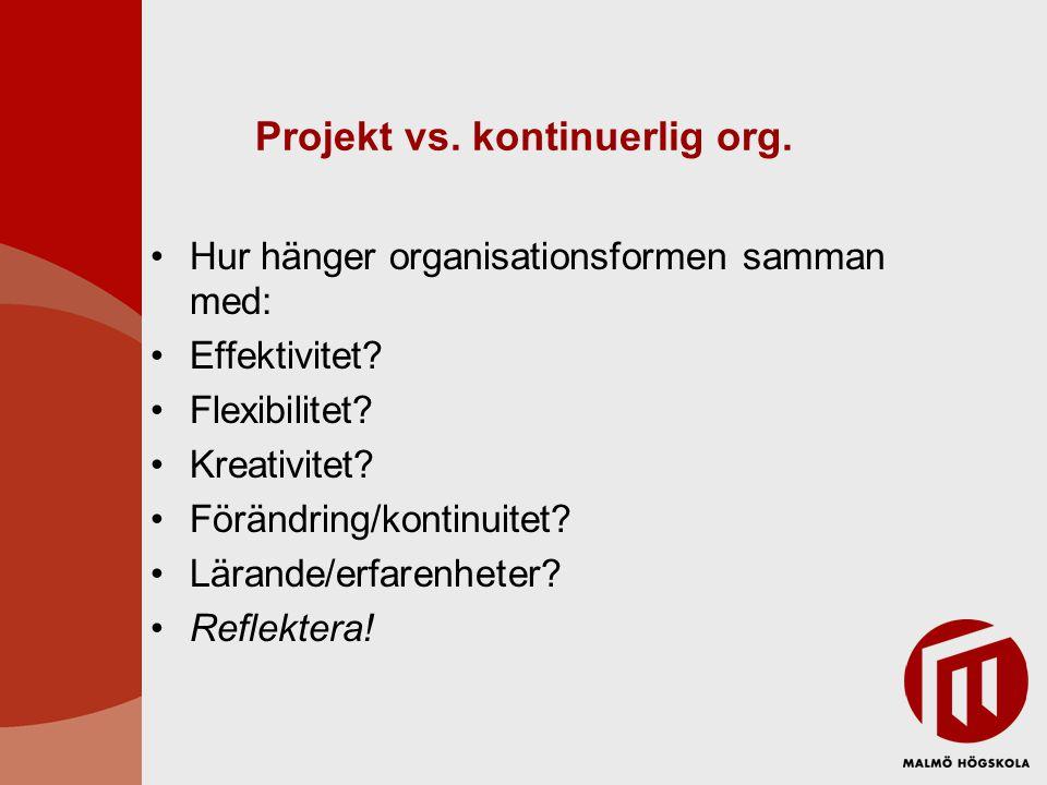 Projekt vs. kontinuerlig org.