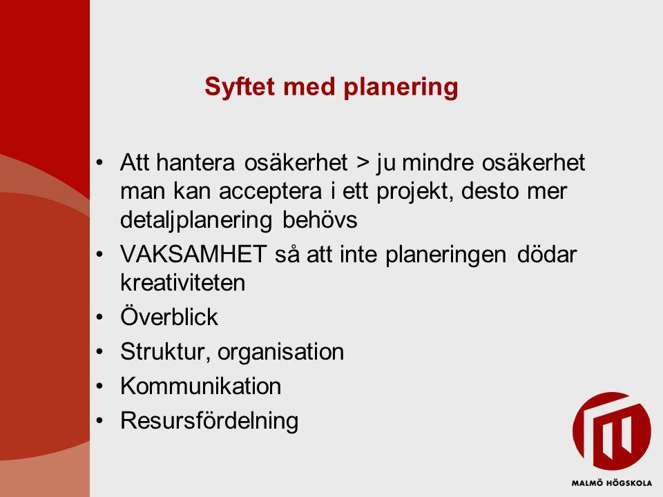 Syftet med planering Att hantera osäkerhet > ju mindre osäkerhet man kan acceptera i ett projekt, desto mer detaljplanering behövs.