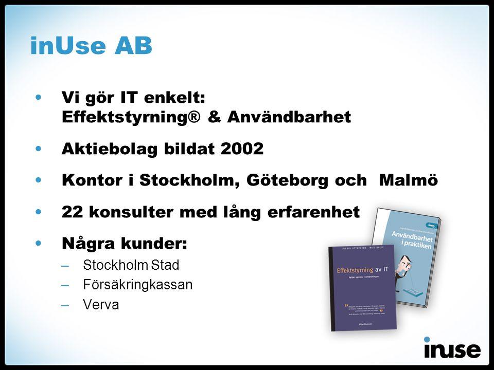inUse AB Vi gör IT enkelt: Effektstyrning® & Användbarhet