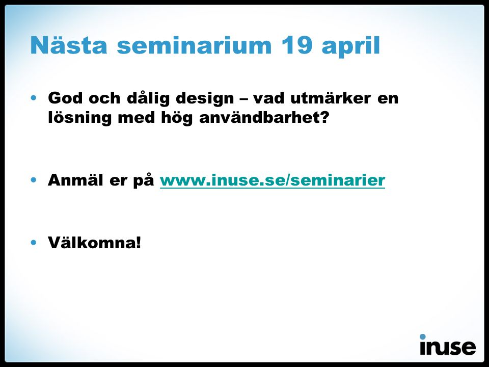 Nästa seminarium 19 april