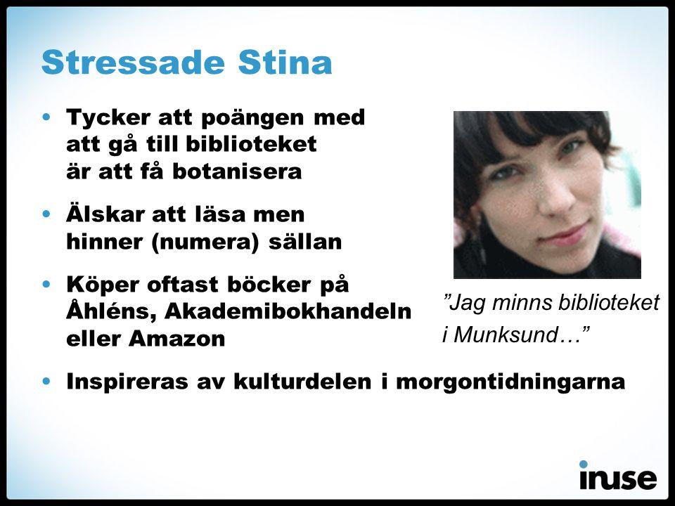 Stressade Stina Tycker att poängen med att gå till biblioteket är att få botanisera. Älskar att läsa men hinner (numera) sällan.