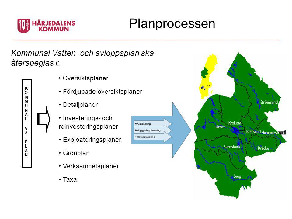 Planprocessen Kommunal Vatten- och avloppsplan ska återspeglas i: