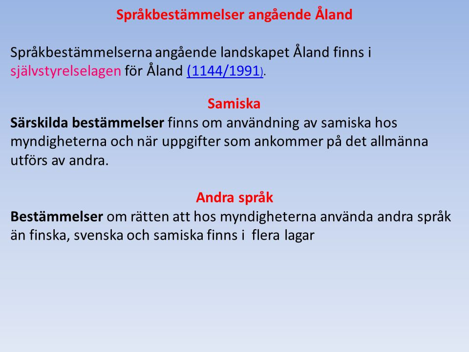 Språkbestämmelser angående Åland