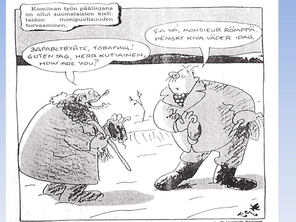 Karis karikatyr om hur han uppfattade språkprogramkommittténs förslag (1979) att finnar borde kunna använda mera främmande språk än var fallet.Jag var en av sekreterarna för kommittén.