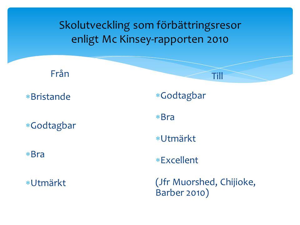 Skolutveckling som förbättringsresor enligt Mc Kinsey-rapporten 2010