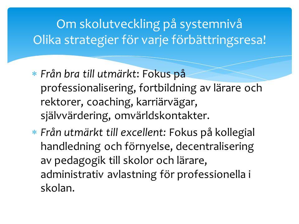 Om skolutveckling på systemnivå Olika strategier för varje förbättringsresa!