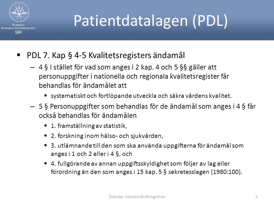 Patientdatalagen (PDL)