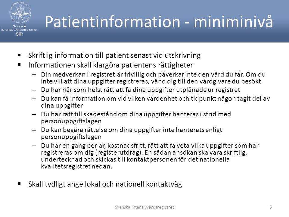 Patientinformation - miniminivå