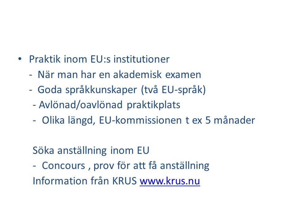 Praktik inom EU:s institutioner