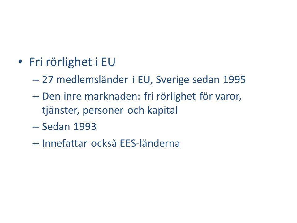 Fri rörlighet i EU 27 medlemsländer i EU, Sverige sedan 1995