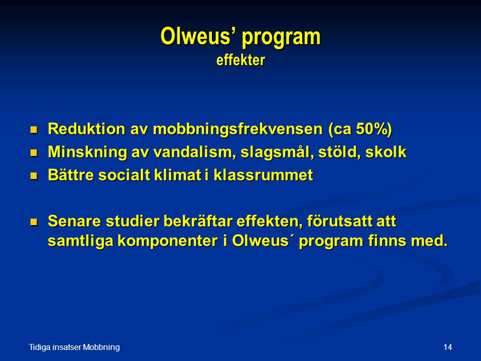 Olweus' program effekter