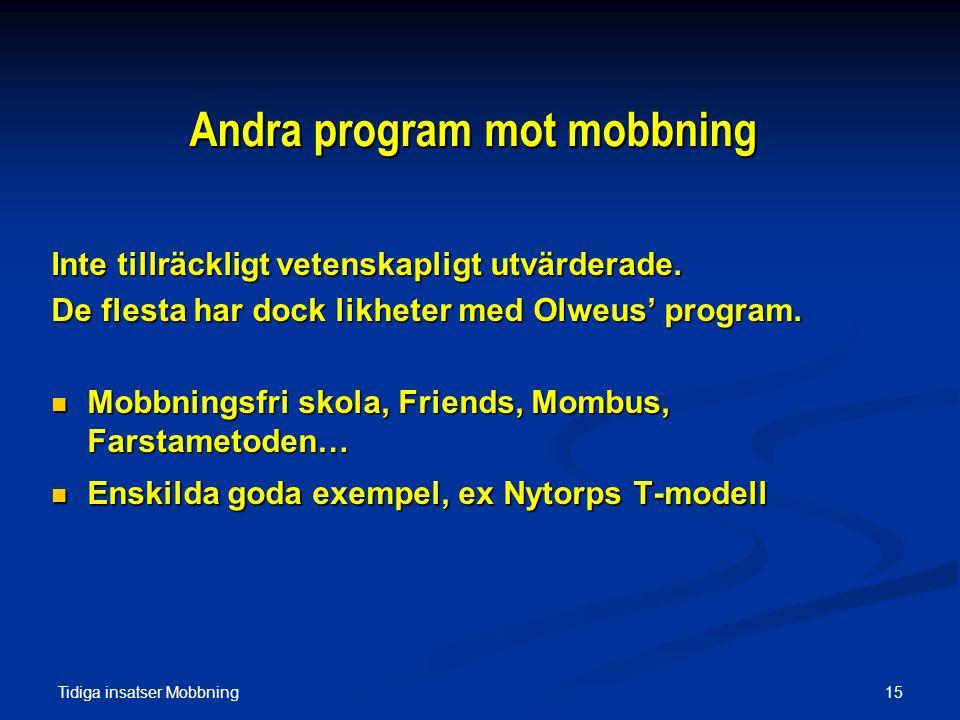 Andra program mot mobbning
