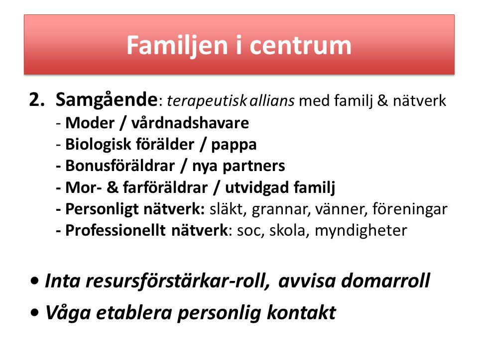 Familjen i centrum • Inta resursförstärkar-roll, avvisa domarroll
