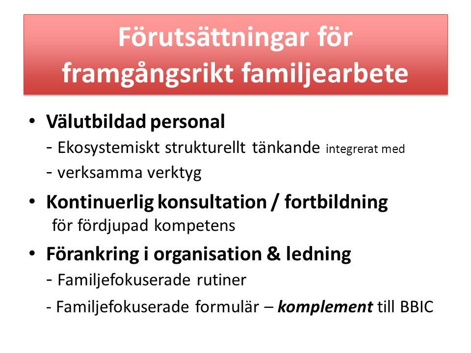 Förutsättningar för framgångsrikt familjearbete