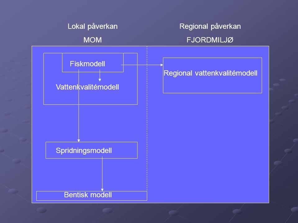 Bentisk modell Spridningsmodell. Vattenkvalitémodell. Fiskmodell. Regional vattenkvalitémodell. Regional påverkan.