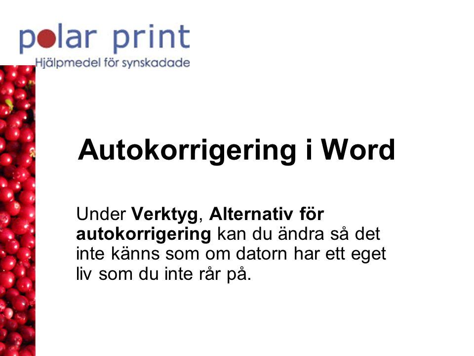 Autokorrigering i Word