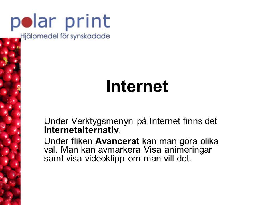 Internet Under Verktygsmenyn på Internet finns det Internetalternativ.
