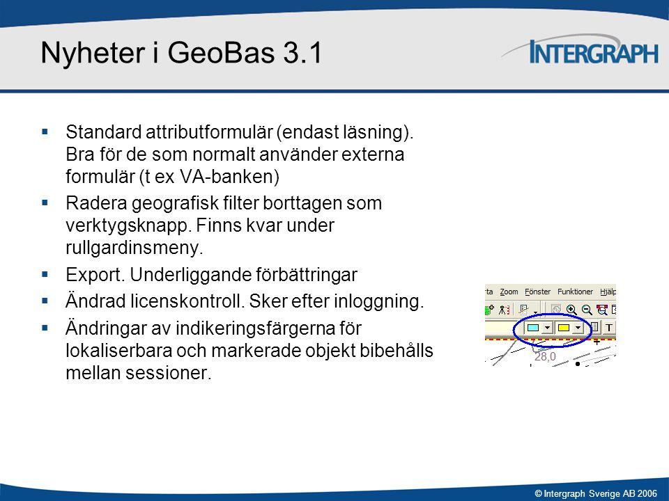Nyheter i GeoBas 3.1 Standard attributformulär (endast läsning). Bra för de som normalt använder externa formulär (t ex VA-banken)