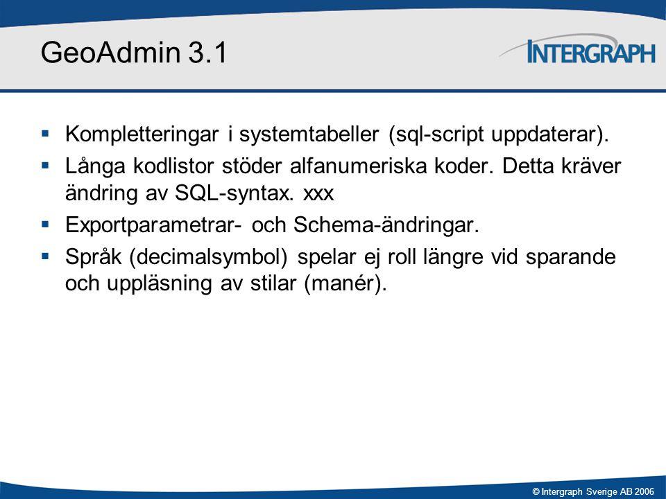 GeoAdmin 3.1 Kompletteringar i systemtabeller (sql-script uppdaterar).