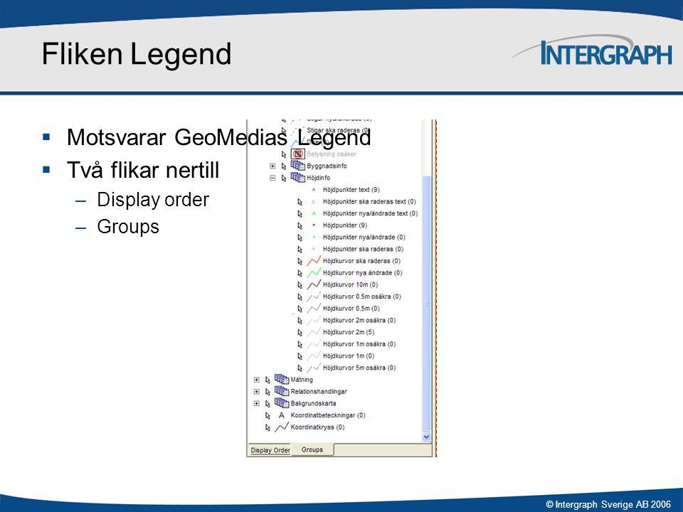 Fliken Legend Motsvarar GeoMedias Legend Två flikar nertill